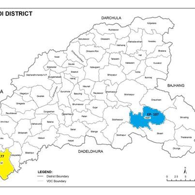 Where is Sharmali in Baitadi... the white you see left of Sharmali is INDIA!