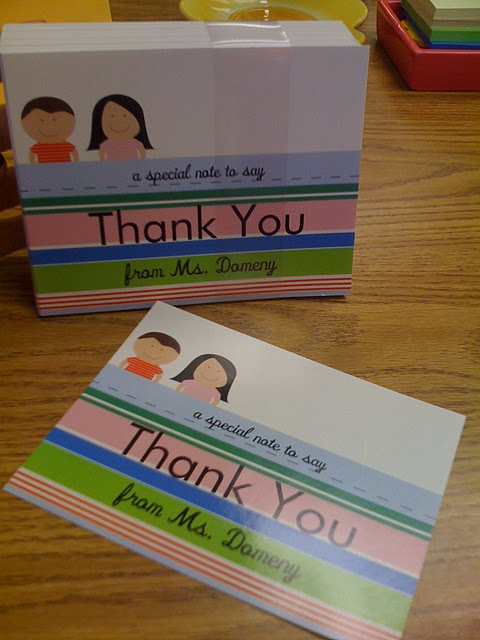 Use Vista Print to make your own custom made thank you notes or postcards. It's a great way to do classroom rewards as well!