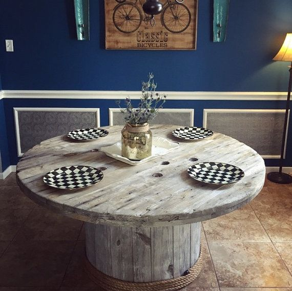 Rustic Wooden Spool Table by HollowoodWorks on Etsy