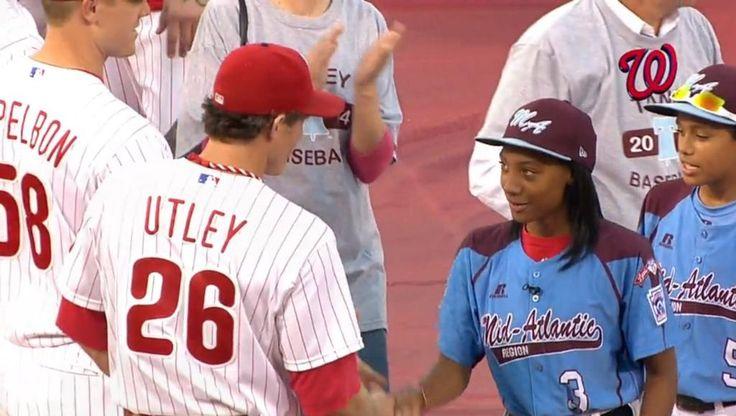 Mo'ne Davis meets Chase Utley. She handled it better than 98% of the Philadelphian female population...