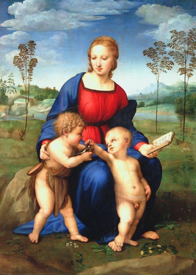 Madonna+ze+szczygłem,+Rafael+–+ożywianie+ptaszka