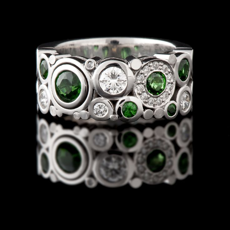 18ct white gold Tsavorite and Diamond dress ring from our 'Carbonated' collection. #CaratsJewellery