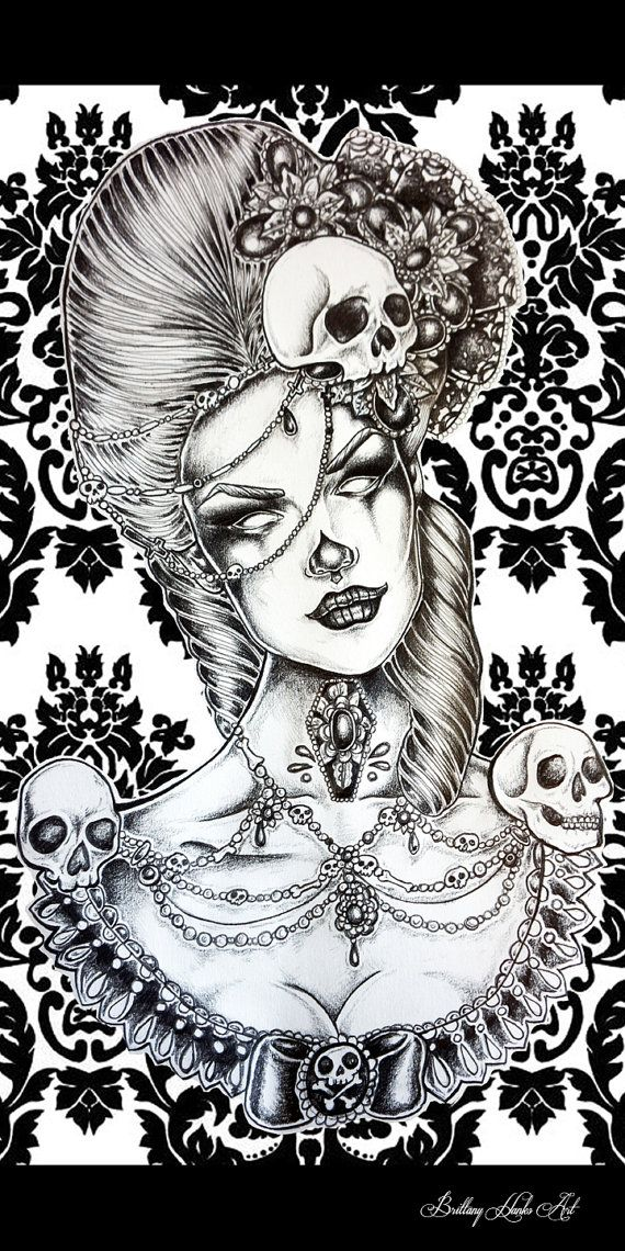 Marie antionette Laveau   STRETCHED CANVAS PRINT  Tattoo Art Gothic Lowbrow Rockabilly Pin Up girl skeleton  Fine Art skulls 10 by 20 inches on Etsy, $75.99