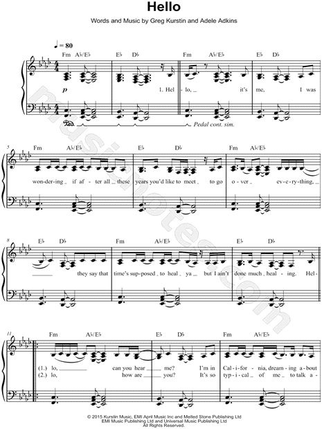 "Adele ""Hello"" Sheet Music (Easy Piano) - Download & Print"