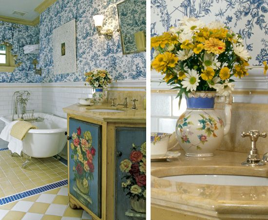 Blue Toile Decorating Ideas: Vintage Tub, Painted Vanity And Toile Wallpaper