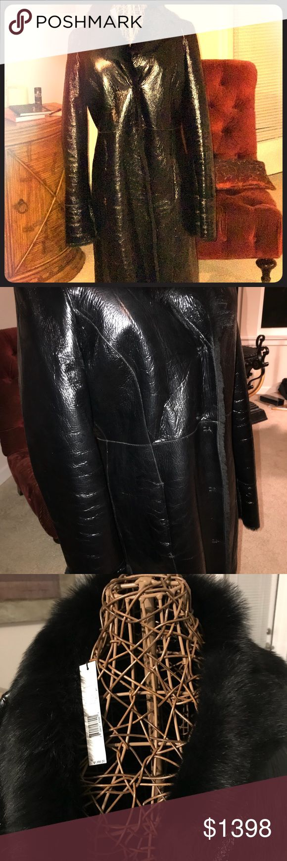 """Full length Elie Tahari black Shearling coat NWT Elie Tahari Beautiful Black Shearling leather full length """"Helen""""coat. NWT. Size L. NOT generously cut. It fits size 8 with ample arm wiggle. Size 10 comfortably without being tight.  If you have thicker arms you may find it uncomfortable. I doubt it will fit size 12 or above. The coat is warm—shearling. Flawless. Retails $1898 Elie Tahari Jackets & Coats Trench Coats"""