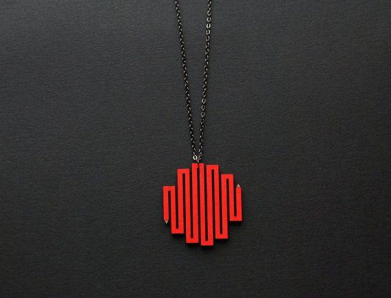Pencil necklace winding pencil pendant painted by elfinadesign