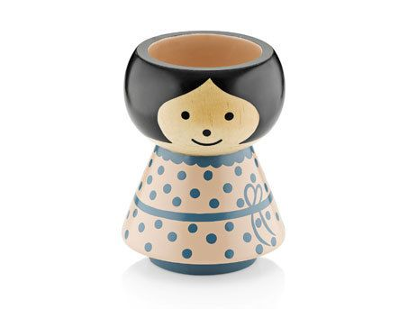 Egg cup - Little Miss Spotty (pale pink and blue)