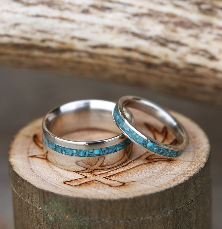 Handcrafted Matching Wedding Rings Featuring Hand Crushed Turquoise Inlays