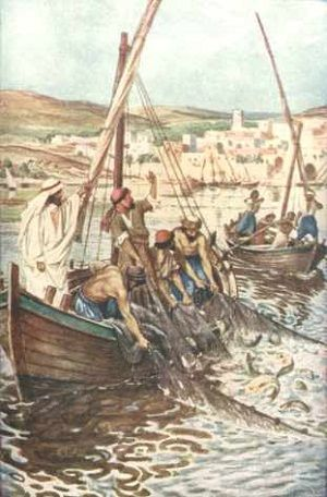 """The Miracle of the Large Catch of Fish.    BIBLE SCRIPTURE: Luke 5:7, """"And they beckoned unto their partners, which were in the other ship, that they should come and help them. And they came, and filled both the ships, so that they began to sink."""""""