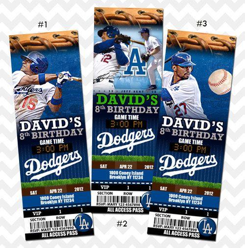 LA Dodgers Invitation LA Dodgers Birthday Party Los Angeles