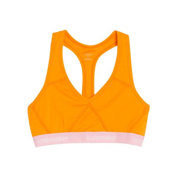 Women's Icebreaker Sprite Racerback Bra 103020 - Gold/Camellia Bras ($61) ❤ liked on Polyvore featuring activewear, sports bras, orange sports bra, racer back sports bra, gold sports bra, racerback jersey and open back sports bra