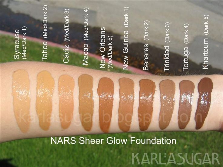 NARS Sheer Glow foundation swatches  by Karla Sugar: Syracuse, Tahoe, Cadiz, Macao, New Orleans, New Guinea, Benares, Trinidad, Tortuga, Khartoum - I'm using Tahoe, but I think I might need something with more olive in it.