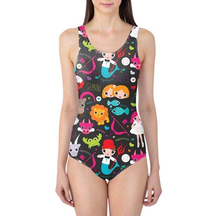 Cute Astrology Star Signs Women'S Swimsuit Xs-3Xl One Piece With Removable Paddi