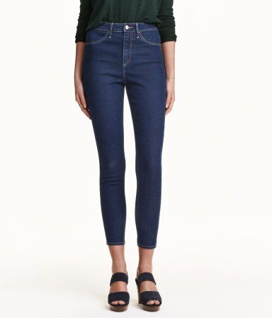 Jeans in washed stretch denim with a high waist and ultra-slim, ankle-length legs. Mock pockets at front and regular pockets at back.