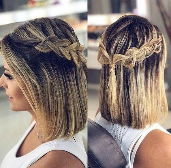 Pin By Lissette Grados On Cabelos Braids For Short Hair Short Hair Updo Prom Hairstyles For Short Hair