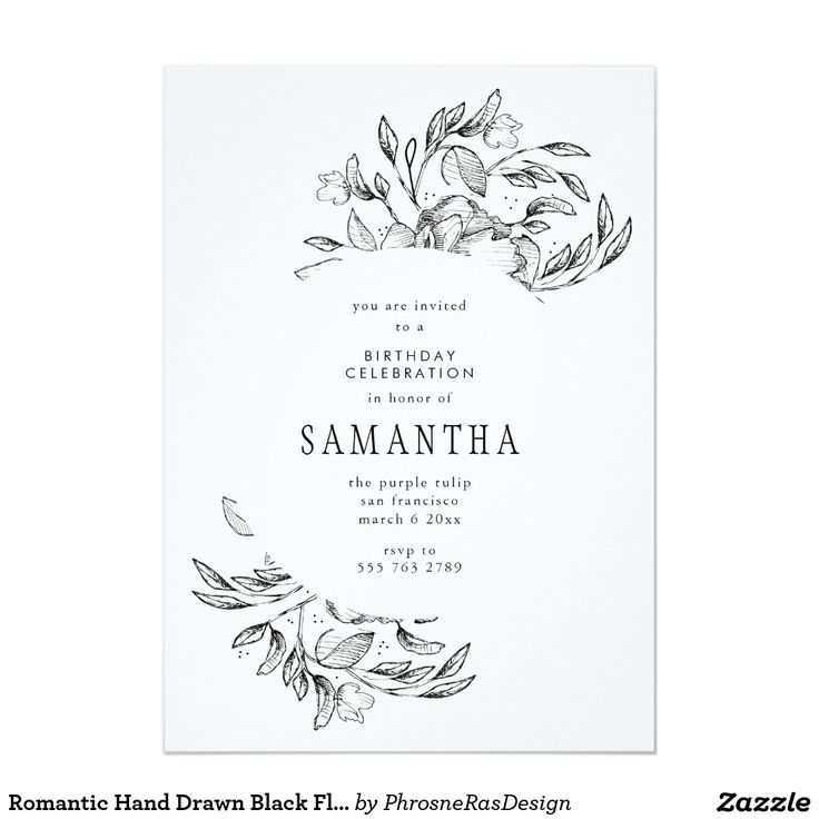 Romantic Hand Drawn Black Floral Frame Invitation #zazzle #invitation #stationery #tabletop #flowers #floral #organic #original #illustration #designer #suite #elegant #stylish #phrosneras #phrosnerasdesign #calligraphy