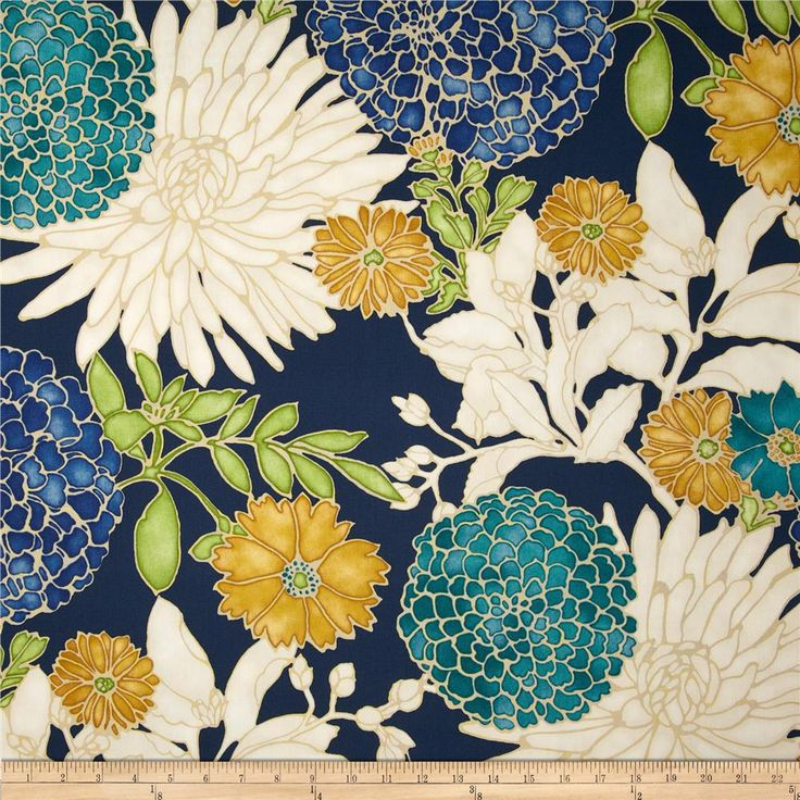 Richloom St. Moritz Floral Twill Carribbean from @fabricdotcom  Screen printed on cotton twill this light/medium weight fabric is very versatile. This fabric is perfect for window treatments (draperies, valances, curtains, and swags), bed skirts, duvet covers, pillow shams, accent pillows, tote bags, aprons and light upholstery. Colors include teal, gold, kiwi, peacock blue, ivory and navy with gold metallic accents throughout the floral design.