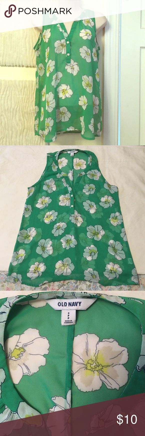 Green Blossom Print Sheer Tank Old Navy tank top in a lovely and bright green with blossoms.  Worn maybe once or twice. Old Navy Tops Tank Tops