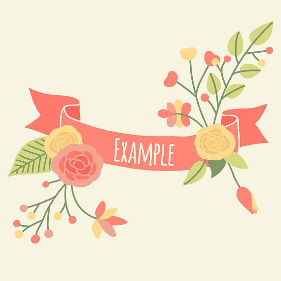 Hand drawn banners flowers floral laurel digital Clipart ...