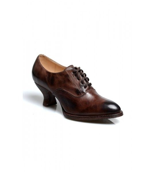 Janet Victorian Style Leather Lace-Up Shoes in Teak Rustic by Oak Tree Farms