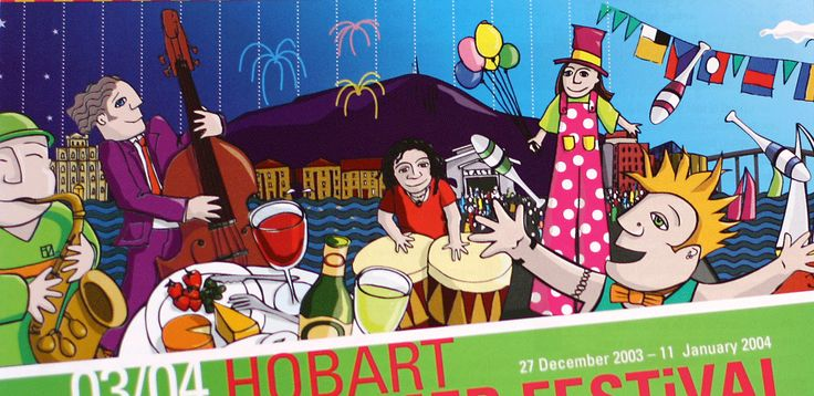 Illustration for the marketing and advertising of the Hobart Summer Festival, Tasmania. By Fiona Verdouw
