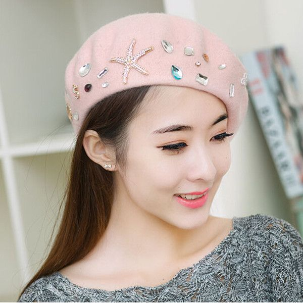 Rhinestone French beret hat for women winter wear