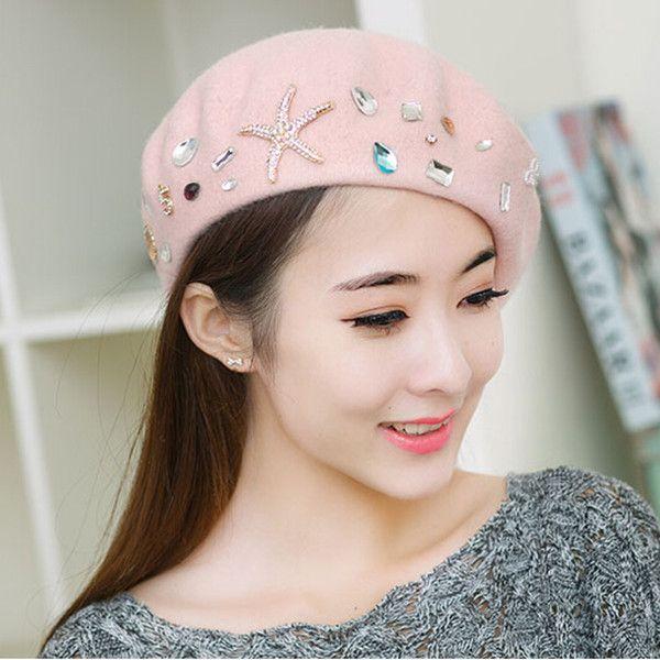 Rhinestone French beret hat for women winter wear