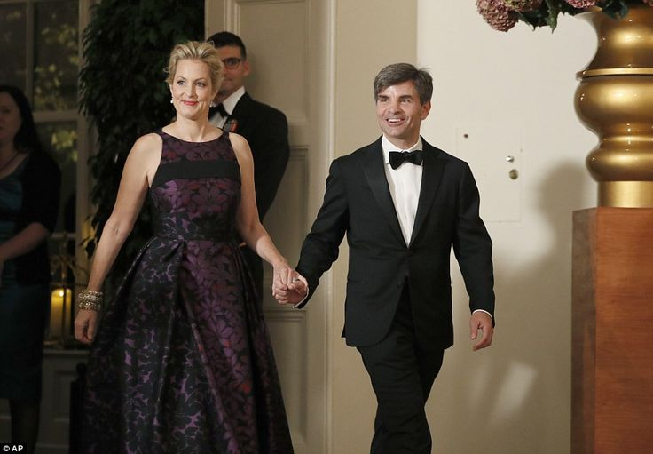 Alexandra Wentworth, left, and her husband George Stephanopoulos arrive for a state dinner...