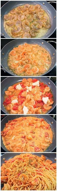 Creamy Shrimp Pasta- 1/2 cream cheese. 1/2 stick butter. 1 lb shrimp. 1 can diced tomatoes. 3 cloves garlic minced. basil, parsley, salt and pepper to taste. Spaghetti noodles. Melt butter in large skillet on stove top. Toss dry shrimp in herbs and cook in butter a few minutes. Add in remaining ingredients and cook until blended. Add in cooked noodles and serve.