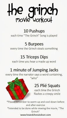 The Grinch Movie Workout - going to use this for my new challenge group!! :)