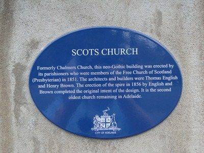 Blue Plaque - Scots Church - Adelaide - Blue Plaques on Waymarking.com • National Trust historic building plaque • Scots Church • South Australia sight • Adelaide's churches