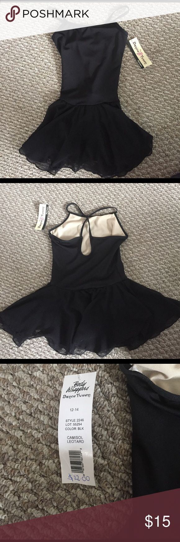 NWT Black Leotard👯 NWT Black Leotard with attached skirt and criss cross backing. Body Wrappers Costumes Dance