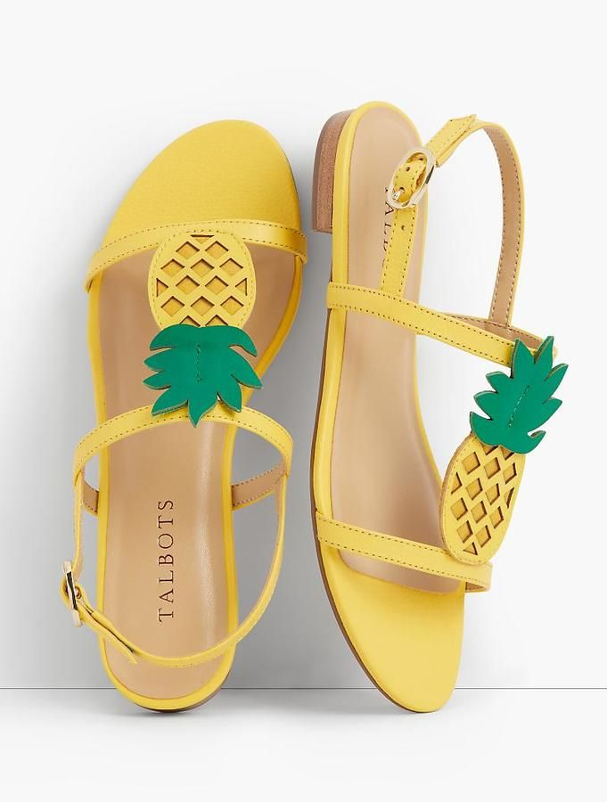 Keri Pineapple T-Strap Sandals - A fun pineapple detail dresses up our bold-colored, T-strap sandals. Pair them with the matching Beaded Pineapple Sweater for tropical vibes from head to toe. [affiliate]
