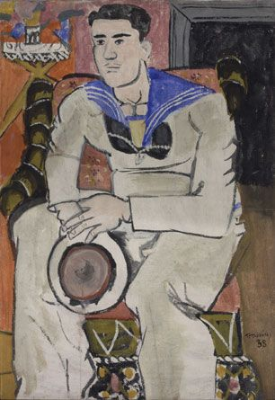 Yannis Tsarouchis / Sailor with a pink face 1938 Pigments with animal glue on paper.