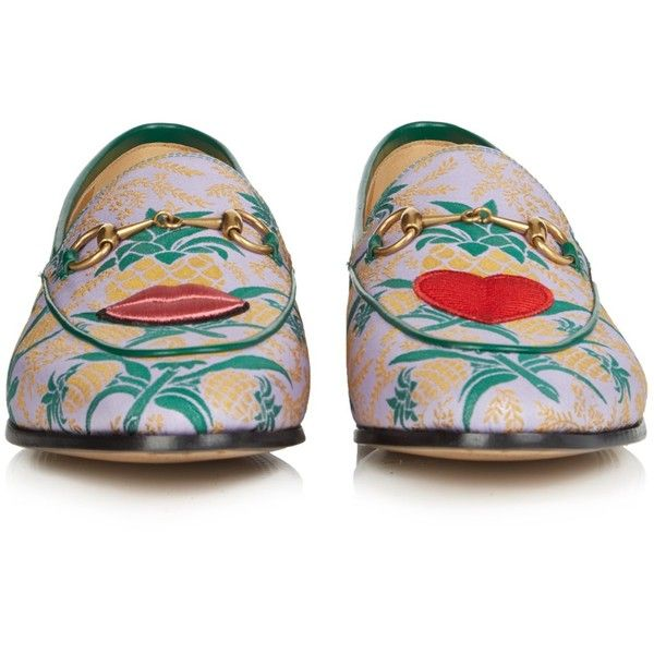 Gucci Jordan jacquard loafers ($630) ❤ liked on Polyvore featuring shoes, loafers, embroidered shoes, woven loafers, gucci, woven shoes and loafer shoes