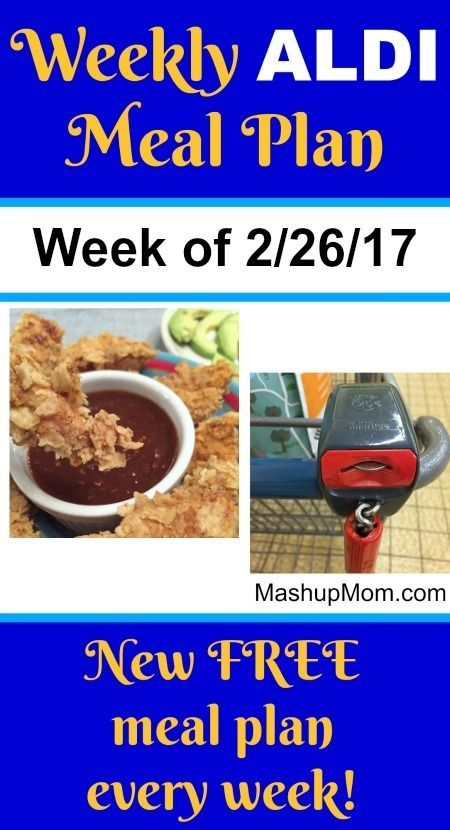 Easy Weekly ALDI Meal Plan week of 2/26/17 - 3/4/17 -- Six complete dinners for four, $60 out the door! Save time and money with meal planning. http://www.mashupmom.com/easy-weekly-aldi-meal-plan-week-22617-3417/