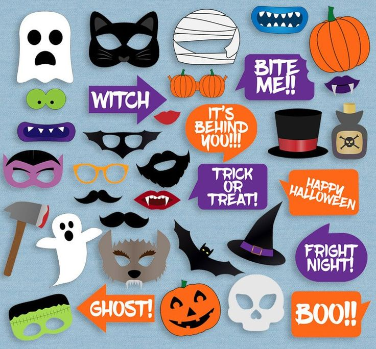 35 x halloween photo booth printable props - Halloween Photography Props