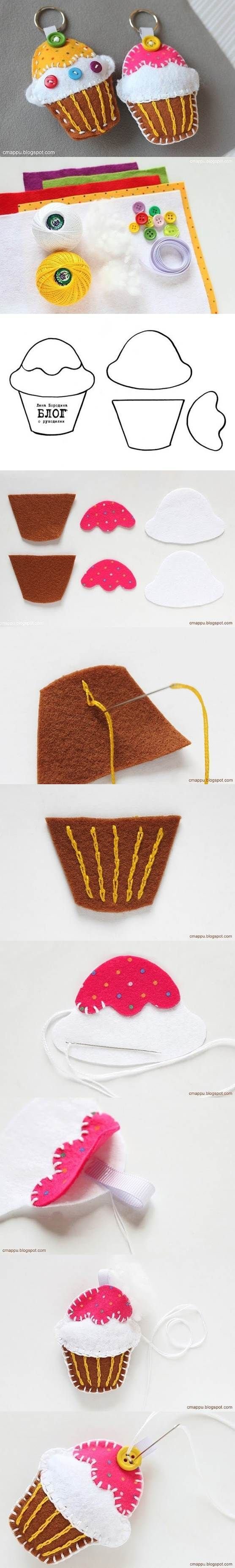 DIY Felt Cupcake Key Chain | iCreativeIdeas.com Like Us on Facebook ==> https://www.facebook.com/icreativeideas
