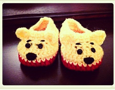 Winnie the Pooh Crochet Slippers by PattyCakesCrochet on Etsy