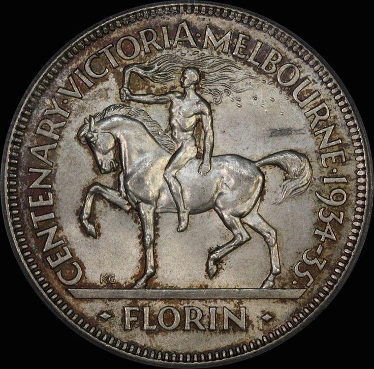 Centenary of Victoria & Melbourne, Victoria, Australia, 1934-1935 Australian florin.