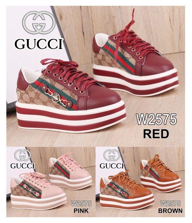 Sneaker Shoes Gucci W2575 Bahan Kulit Sintetis Kanvas Kualitas
