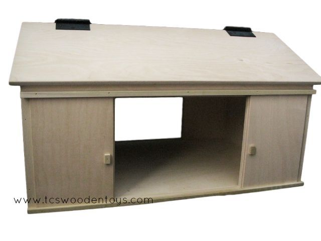Amish Wood Toy Machine Tool Shed - Pretend Play Vehicle Storage