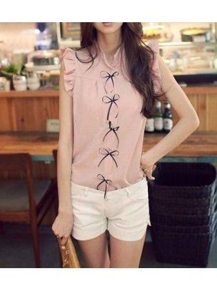 Turndown Collar Cap Sleeved Pink Chiffon Blouse