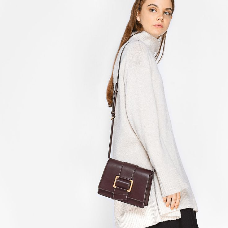Black Oversized Buckle Sling Bag | CHARLES & KEITH