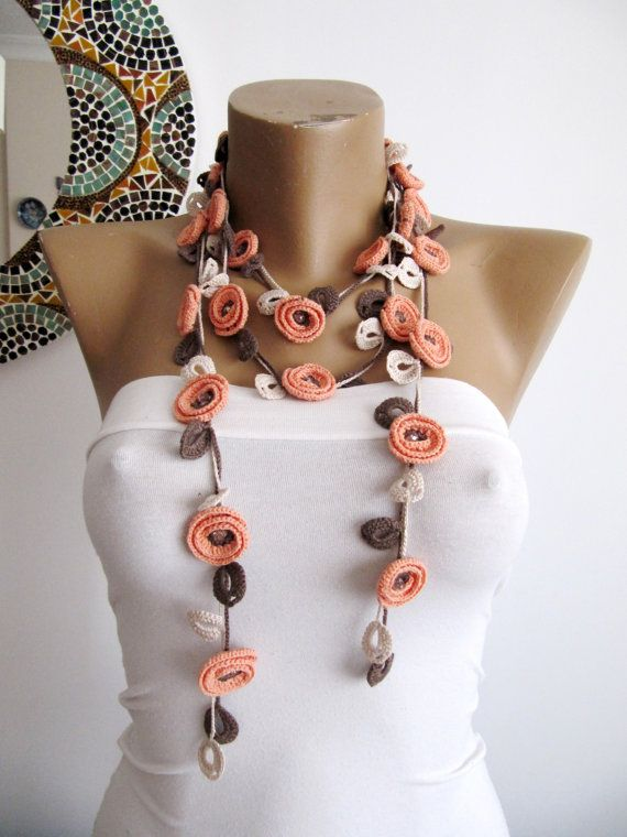 This lovely BRIGHT PEACH- BEIGE crochet necklace is design and made by me. İts look so elagant.You can wrap it 3 time more longer or shorter as you like.İt look rich. İts comfortable to use it because its made by linen and viscose yarn.it feel soft. There is no closure. You can wear it as a necklace,as a belt,as a head band or as a bracelet. Care:Gently handwash in cool or luke warm water and dry flat.ıron on medium steam. size: 200 cm / 80 (can be +- 3cm) Made in smokefree home. Than...