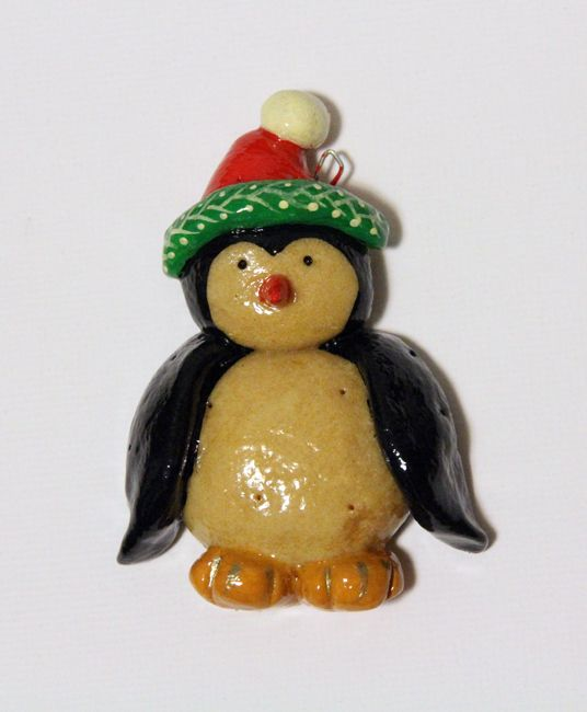 Salt Dough Christmas Ornament. Penguin. Handmade. …