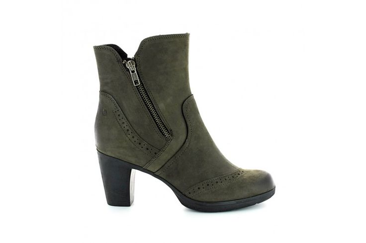 Ruby 3214 Nabuk Grey - Half boots in real brushed nabuk leather with double side zip. Rubber sole and heel 7 cm high.