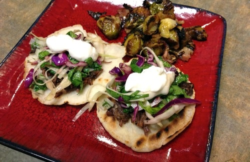 Korean Short Rib Tacos with Sweet Chili Brussels Sprouts / fire ...