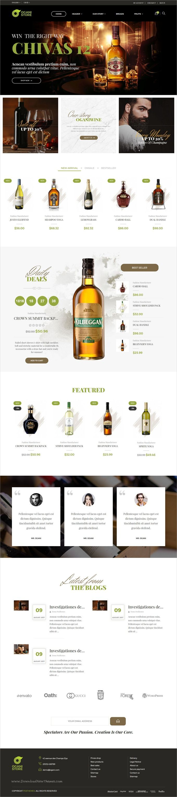 Ogani is clean & modern design 4in1 responsive #Prestashop theme for #wine #liquor shop or organic food #eCommerce website download now..